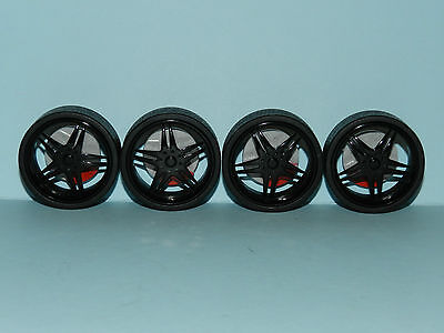 1/18 Wheels & Tyre Set Black Mags Low Profile Tyre Great for diorama or rebuilds