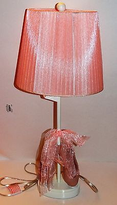 Nwt Girls Pink Ballet Shoes Lamp Pink Ribbon Tie Bow Ballet Room Decor Ballerina
