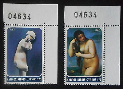 Cyprus 1982 2 Stamp Issue Aprodite Mnh Control Number Zypern Chipro Chypre