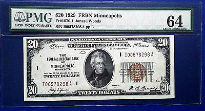 $20 1929 Federal Reserve Bank Note Fr. 1870-I Minneapolis PMG64 Choice Unc