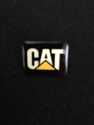 """CAT"" Logo Black and Yellow Gold Tone Pin"