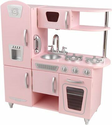 Wooden Play Kitchen Retro Role Playing Girls Birthday Gift Cooking Feeding Toy