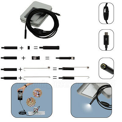 Waterproof Endoscope 6 LED 7mm 2M For Android Smartphone Inspection Borescope