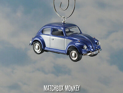 67 Classic Blue Two Tone Volkswagen Beetle Christmas Ornament VW Bug Herbie  1/64 - 67 CLASSIC BLUE Two Tone Volkswagen Beetle Christmas Ornament VW Bug
