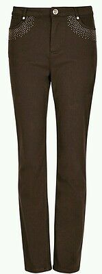 Ex M&s 7907 Per Una Roma Rise Straight Leg Embellished Chocolate Jeans Rrp£39.50