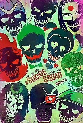Suicide Squad DC Comics Skulls Original Movie Poster DS Advance Style A- Harley