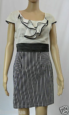 **STRIKING** Ruffled Waterfall Chiffon Dress Striped Skirt 10 S Work Office