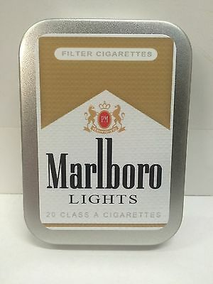 Marlboro Lights Retro Advertising Brand Cigarette Tobacco Storage 2oz Hinged Tin