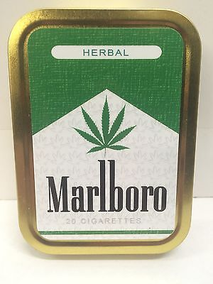 Herbal Leaf Retro Funny Advertising Cigarette Tobacco Storage 2oz Tin
