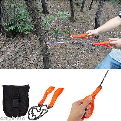 Survival Chain Saw Hand ChainSaw Outdoor  Emergency Camping Kit Tool w/ Pouch