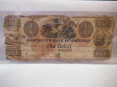 1840 $1 Dollar Bill Merchants Bank Of Jackson County Michigan Safety Fund