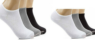 6 12 Pairs Men Women Trainer Liner Ankle Socks Cotton Rich Sport Black White