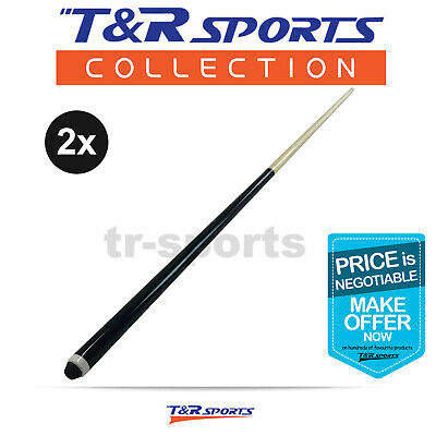 "2x 48"" Short Wooden 2-Piece Pool Cue Billiard Free Delivery"