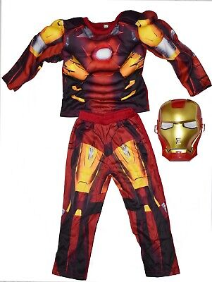 New Size 2-12 Kids Child Superhero Iron Man Muscle Party Costumes Boys Toddler