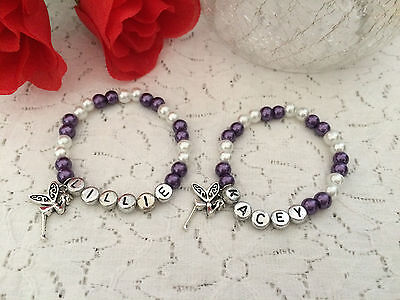 Girls Bead Personalised Stretch Bracelet With Charm