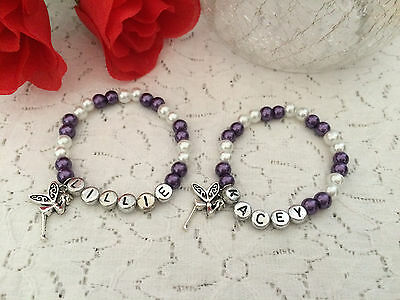Glass Bead Personalised Stretch Bracelet With Charm - Girl Woman