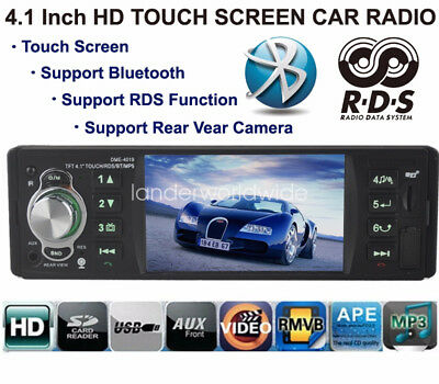 4.1'' Touch Screen Bluetooth Car Radio Stereo MP4/USB/TF/EQ/RDS/Rear view Camera