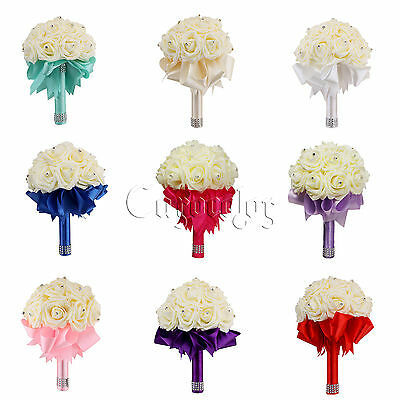 Wedding Bouquet Bridal Bridesmaid Aartificial Rose Flower Ribbon Pearl Hand Made