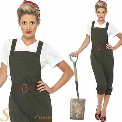 Ladies Land Girl World War Army Outfit WW2 1940s Fancy Dress Costume Size 8-26