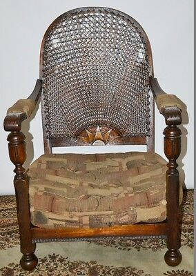 Antique Carved Oak Cane Back Low Armchair c1920 - FREE Delivery [PL2015]