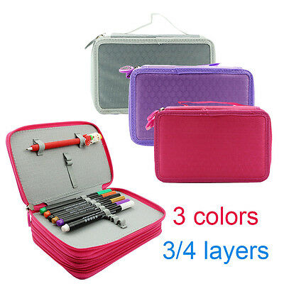 3/4 Layer High Capacity Pencil Case Pen Box Holder Stationary Makeup Storage Bag