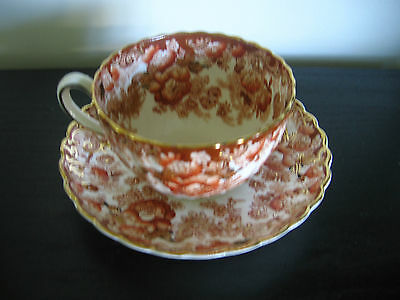 Radfords China Orange Rust Floral Chintz Scalloped Cup & Saucer
