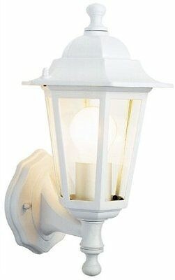 Outdoor Light White Wall Lantern 6 Sided Glass With Lamp No Pir