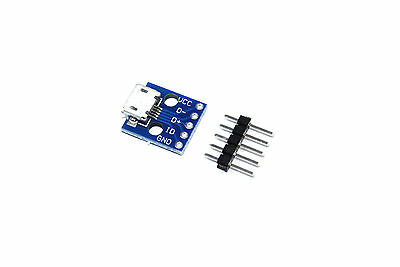 Micro USB Breakout Module Blue Arduino Breadboard 5 Pin Flux Workshop