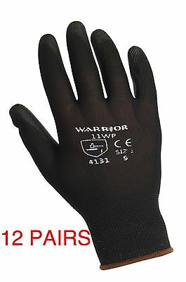 12 Pairs x WARRIOR WORK GLOVES BLACK PU PALM COATED GLOVES CONSTRUCTION BUILDING