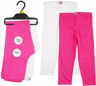 Girls Pack of Two Stretch Crop ¾ Leggings Cerise Pink & White AGE 8-9 Years