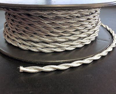 Silver Twisted Rayon Covered Wire, Antique Style Cloth Lamp Cord, Vintage Lights