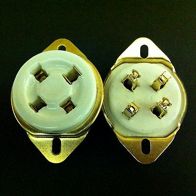 4 Pin UX4 Ceramic Tubes Socket for 2A3, 300B, etc.  With Gold plated contacts