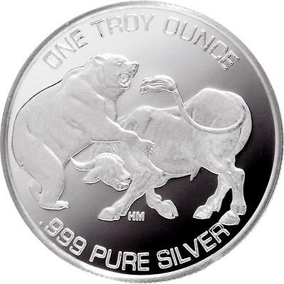 2015 Bull And The Bear 1 oz .999 Silver Round USA Made American Bullion Coin