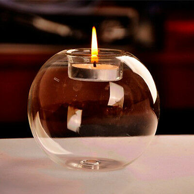 NEW Round hollow glass candle holder wedding fine candlestick dining home decor