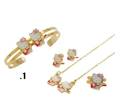 Hello Kitty Girls Multi-Color Set Earring Bracelet ring necklace 14K Gold Plated