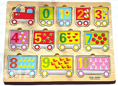 Kids Girls Boys Educational Wooden Puzzle Jigsaw Toy Xmas Gift Counting Numbers