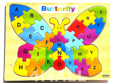 Kids Girls Boys Educational Wooden Puzzle Jigsaw Toy Gift Alphabet Butterfly