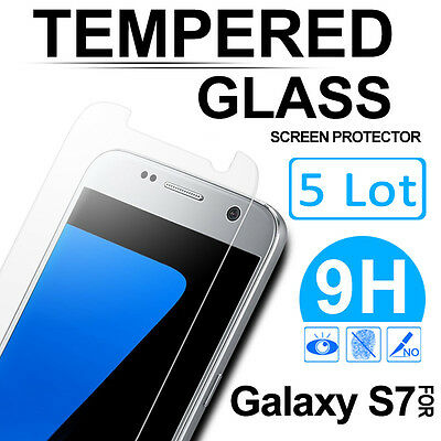5 Lot Premium Tempered Glass Screen Protector Film Cover for Samsung Galaxy S7