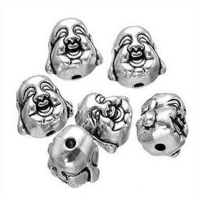 10pc Tibetan Silver 2-Sided buddha head Spacer Beads jewelry Findings PL1052