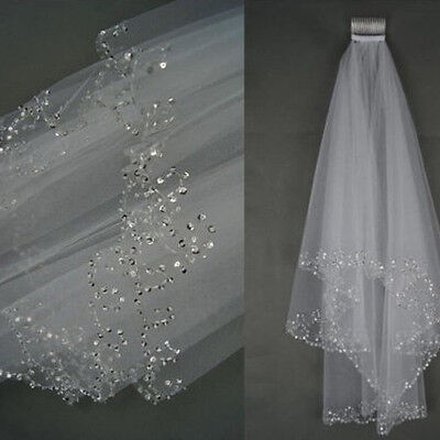 2T Elbow Length White Ivory Beaded Sequins Edge Wedding Bridal Veil With Comb