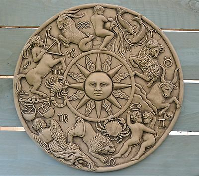 Zodiac Wall Plaque-Garden Ornament-Wall Hanging-Sculpture-Stone-Astrology-Gift