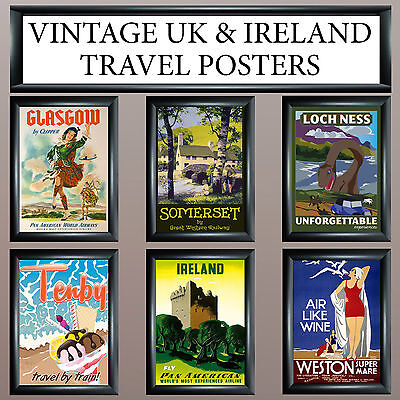 Vintage Retro Uk Travel Wall Deco/art Print - Large A3 Or A4,a5 Free Uk P&p