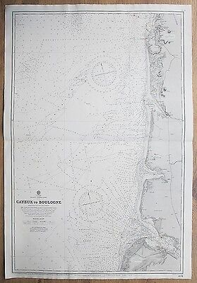 1880-1913 France Cayeux To Boulogne Genuine Vintage Admiralty Chart Map