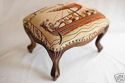 Medieval Louis XV Style Hand Carved French Footstool/ Ottoman - Les Normands