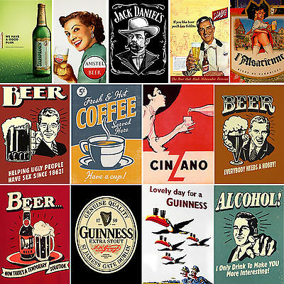 Vintage Drink Posters - Large A4/A5 Poster Or Framed - Free Uk P&P