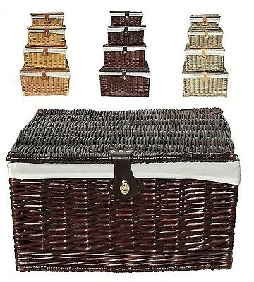 Strong High Quality Lidded Linned Picnic Xmas Hamper Basket Storage Box Gift
