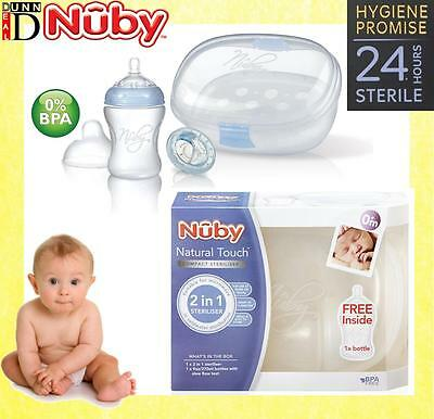 Nuby Natural Touch Baby Bottle Compact Mini Microwave Travel Steriliser Cleaner