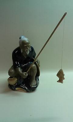 Shiwan Artistic Ceramic Factory Chinese Fisherman Figurine Mud Man Oriental blue