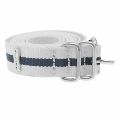 Genuine Tommy Hilfiger Web Thin Style Belt Womens TW917 various sizes White/Navy