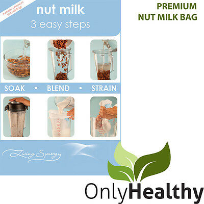 Living Synergy Nut Milk Bag. Free recipe booklet include. Great for Thermomix!
